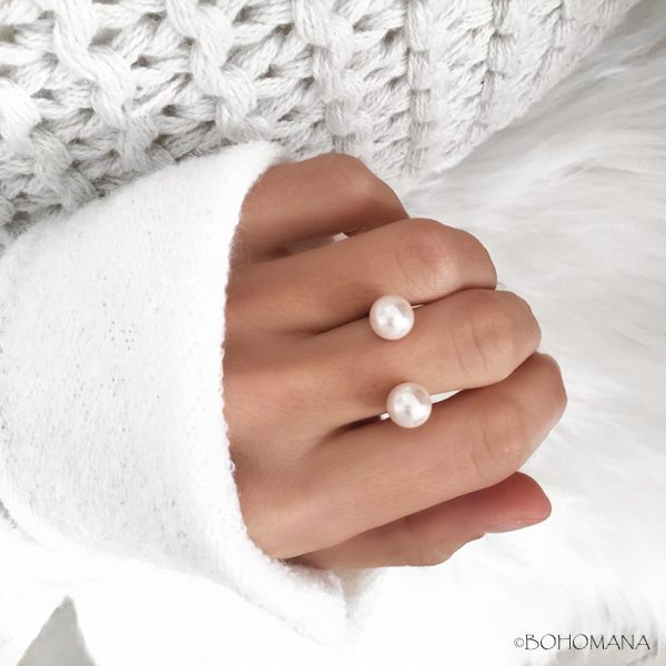 Bague fantaisie double perles blanches