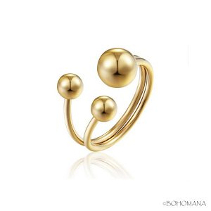 Bague en acier inoxydable perles or