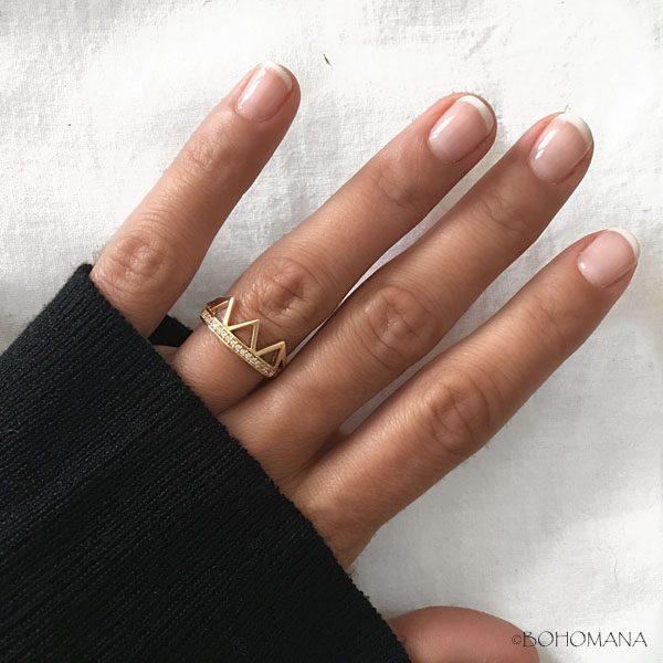 Bague plaqué or avec couronne