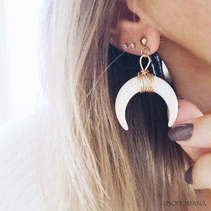 Boucles d'oreilles lune corne