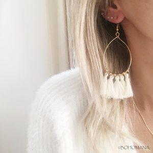 Boucles d'oreilles pompons beiges