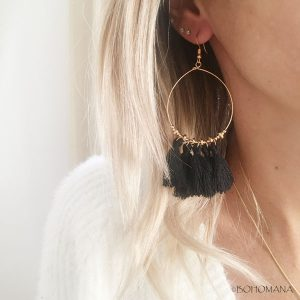 Boucles d'oreilles pompons noirs