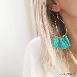 Boucles d'oreilles pompons verts