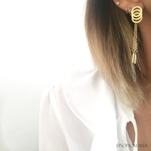 Boucles d'oreilles en acier avec cercles
