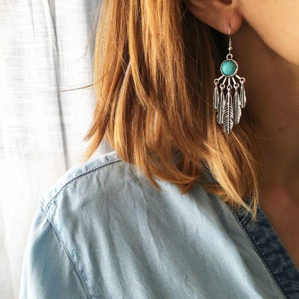 Boucles d'oreilles plumes turquoise