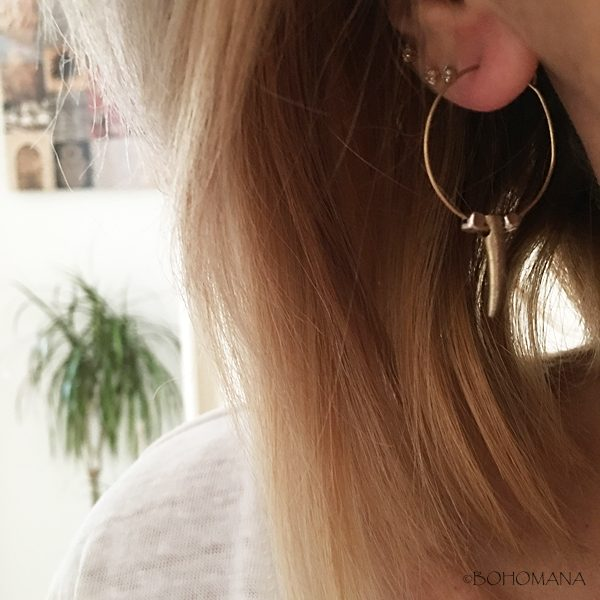 Boucles d'oreilles bronze avec corne