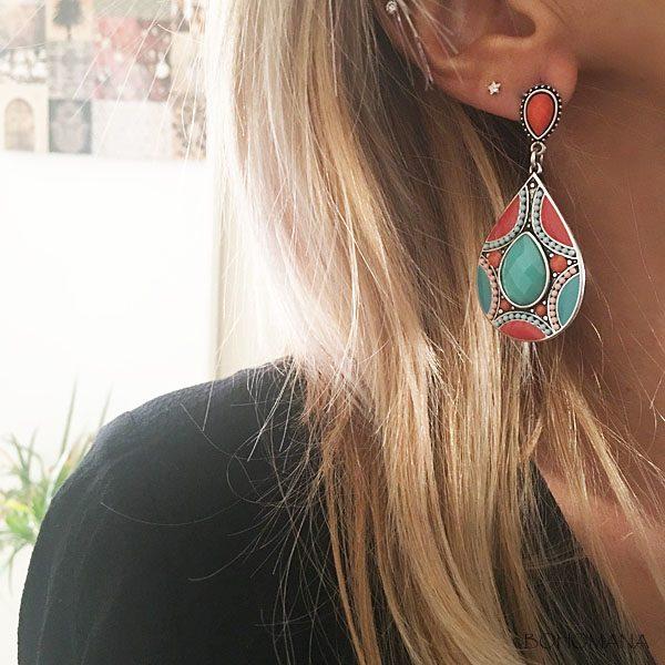 Boucles d'oreilles ethniques multicolores