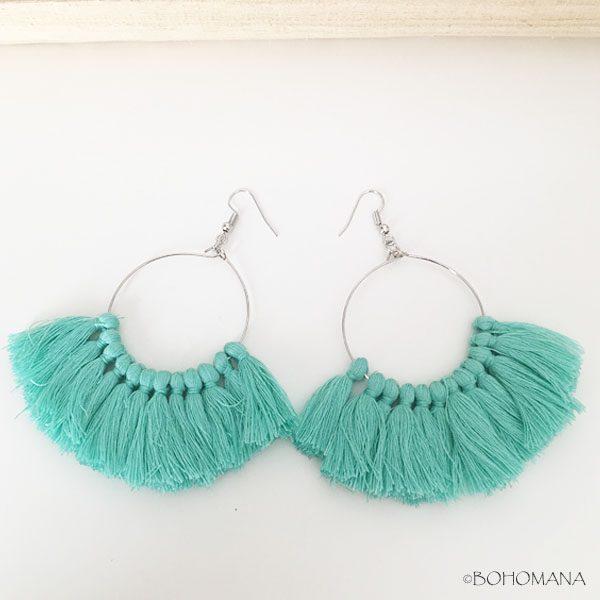 Boucles d'oreilles pompons turquoises