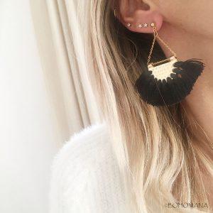 Boucles d'oreilles pompons bohèmes