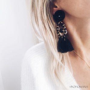 Boucles d'oreilles pompon noir