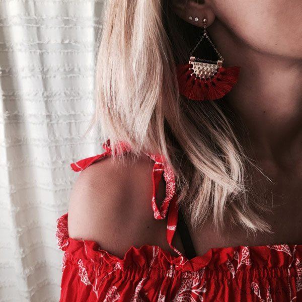 Boucles d'oreilles pompons rouges