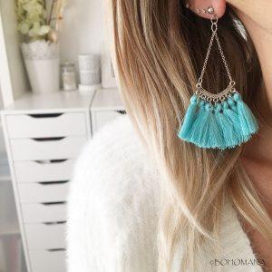 Boucles d'oreilles pompons bleus