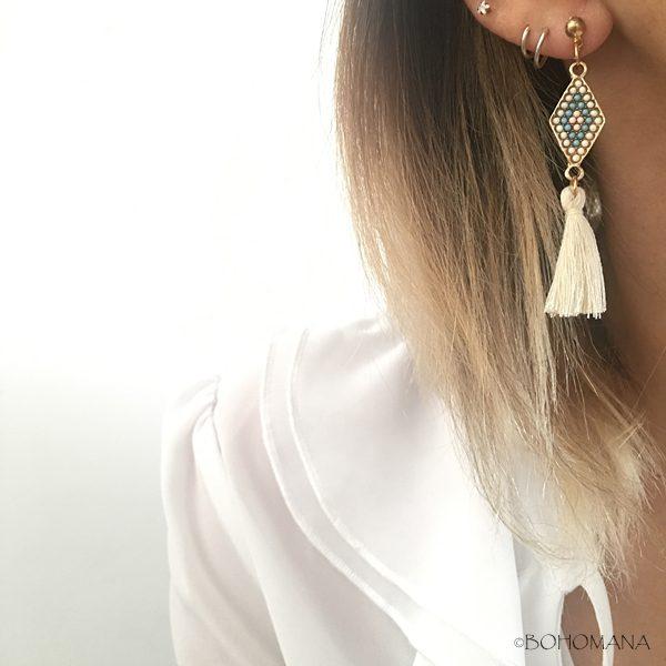 Boucles d'oreilles losange pompon
