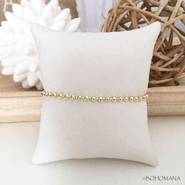 Bracelet plaqué or billes