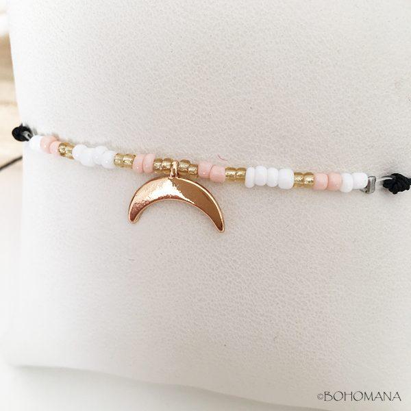 Bracelet fantaisie perles et lune