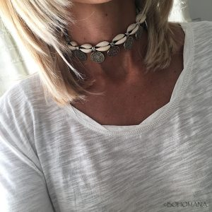 Choker coquillages médaillons argent