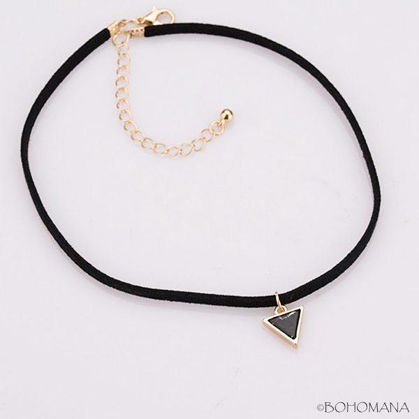 Choker triangle marbre noir