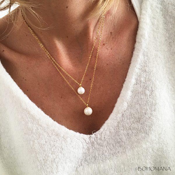 Collier acier inoxydable pendentifs perles