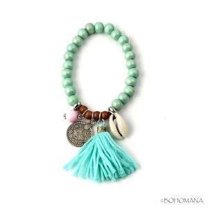 Bracelet coquillages perles vertes