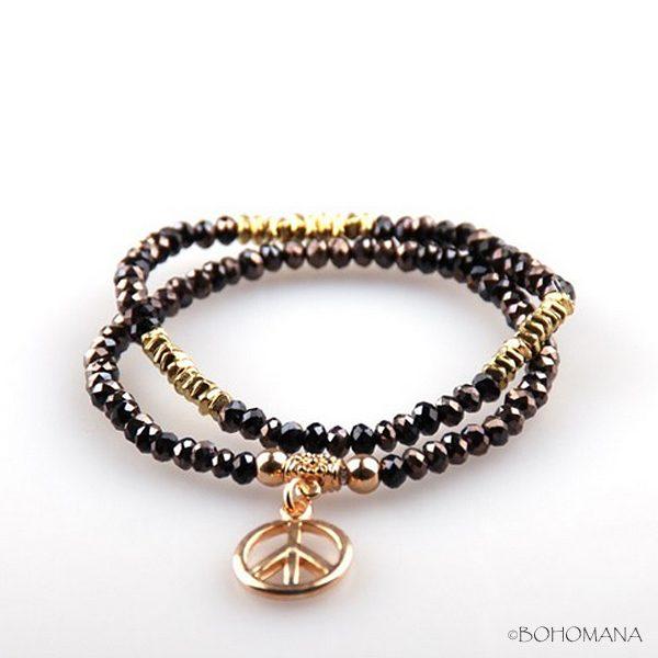 Bracelet perles Peace and Love