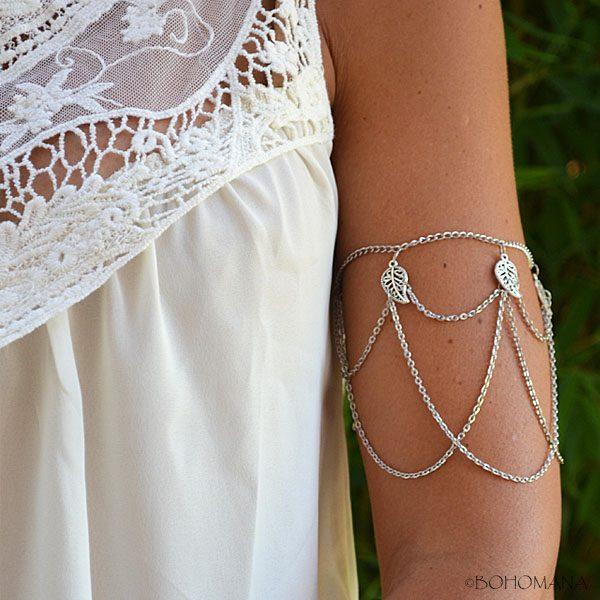 Bracelet bras Feuilles argent