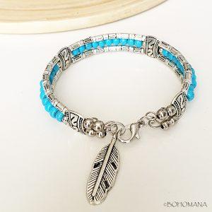 Bracelet bohème argent turquoise
