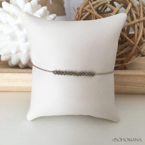 Bracelet coulissant perles grises