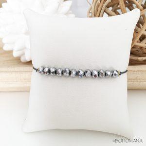 Bracelet coulissant perles gris