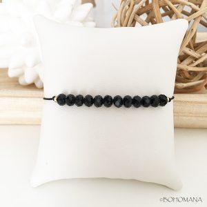 Bracelet coulissant perles noir