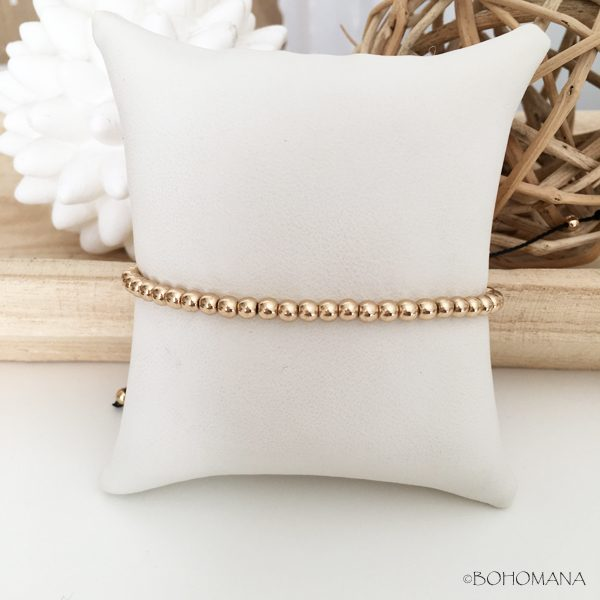 Bracelet coulissant perles or