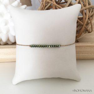 Bracelet coulissant perles vertes