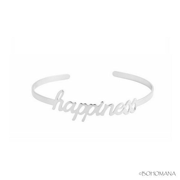 Bracelet jonc argent happiness