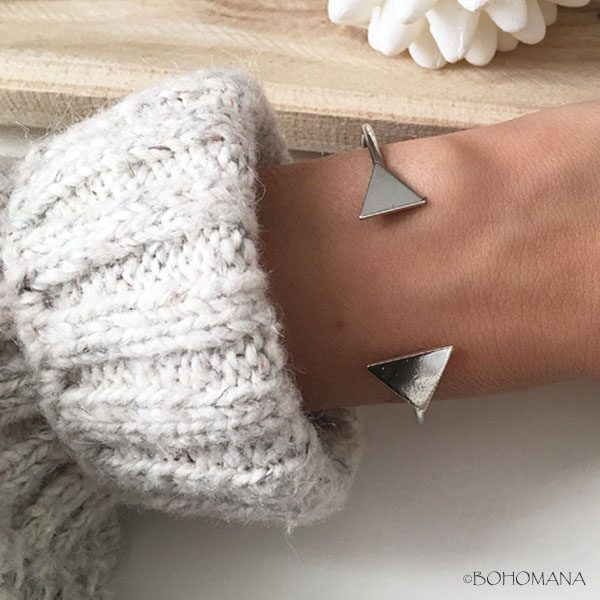 Bracelet jonc argent triangles