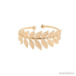 Bracelet jonc feuilles or