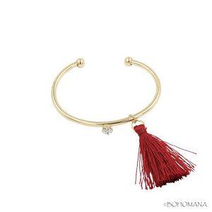 Bracelet jonc pompon rouge
