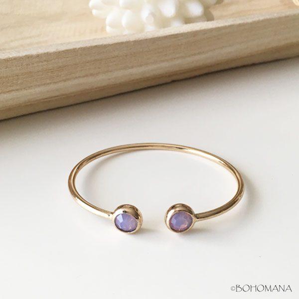 Bracelet jonc strass violet