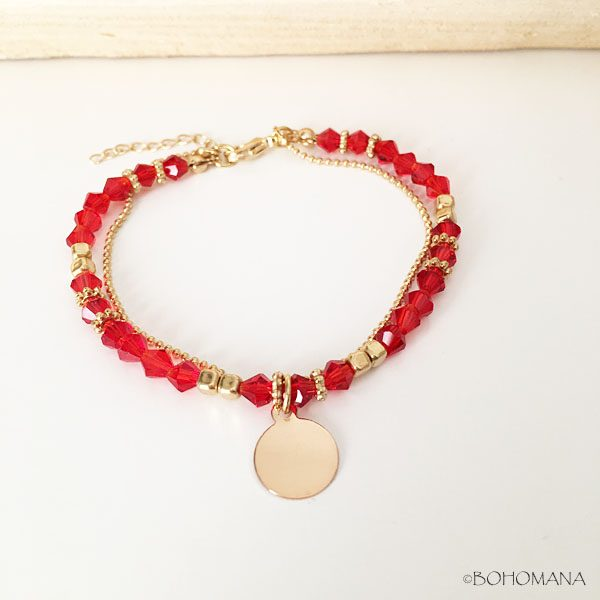 Bracelet or perles rouges