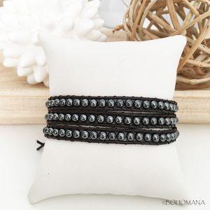 Bracelet wrap cuir noir