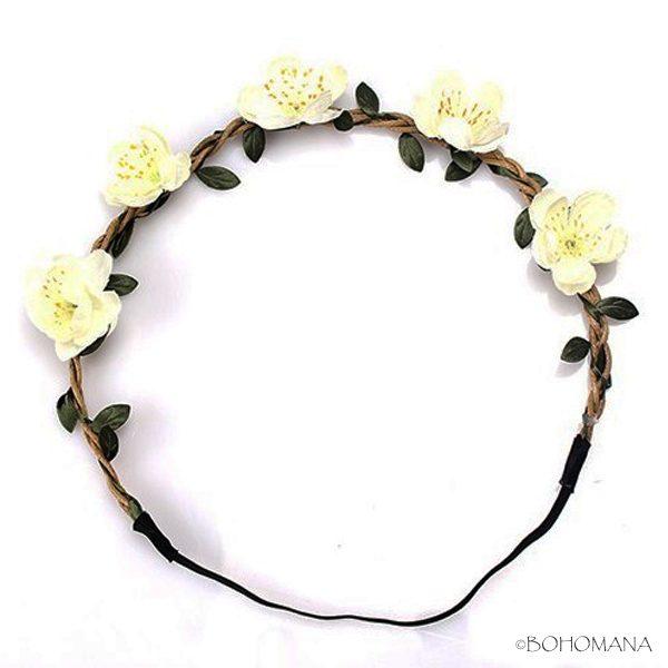 Headband fleurs ivoire