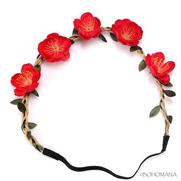 Headband fleurs rouge
