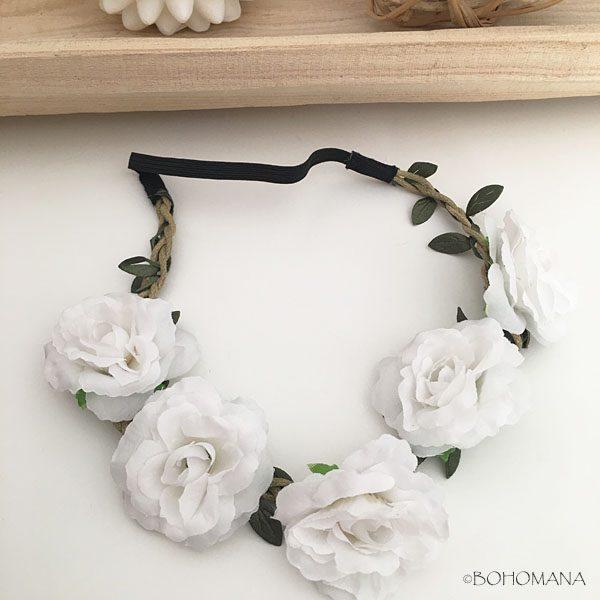 Headband fleurs blanc