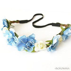 Headband fleurs bleu