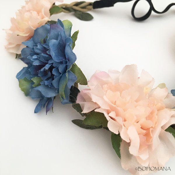 headband fleurs bleu et rose