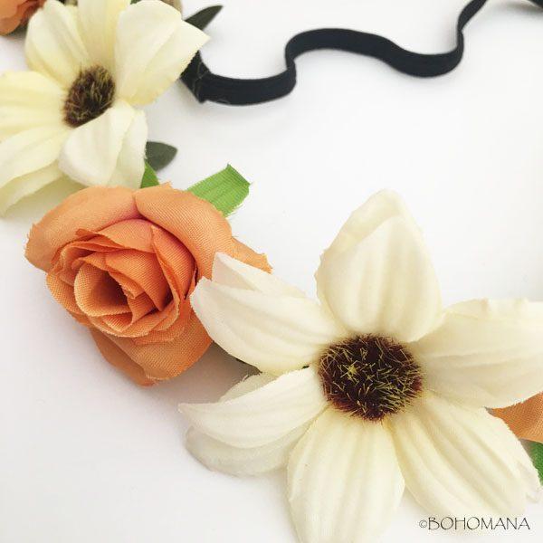 Headband fleurs abricot