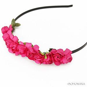 Serre-tête fleurs rose fushia