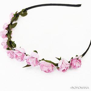 Serre-tête fleurs rose