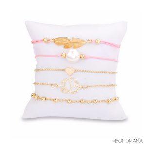 Set bracelets fantaisie rose