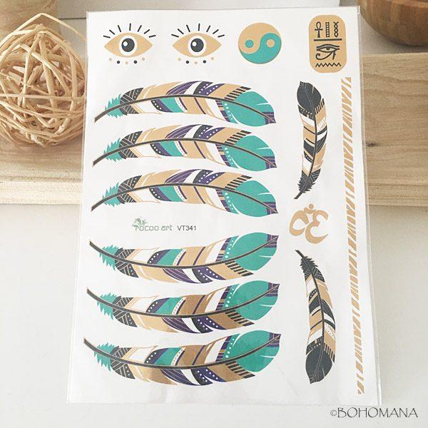 Tatouage éphémère plumes