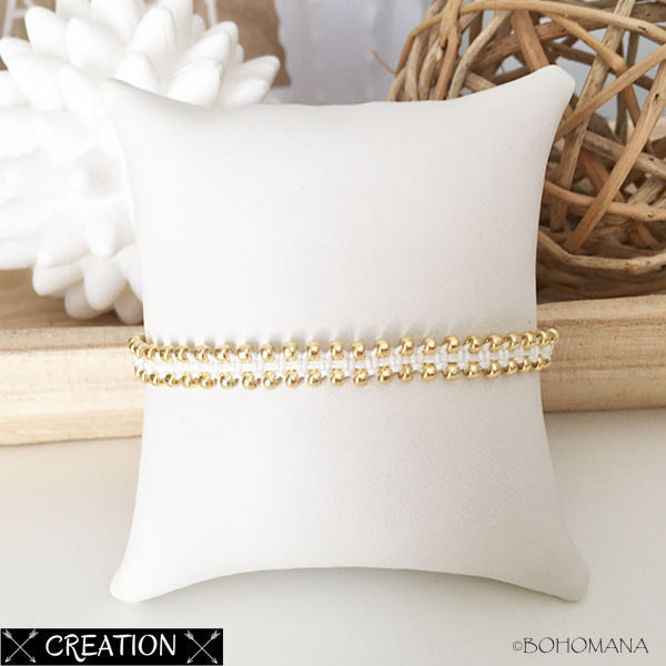 Bracelet création macramé blanc