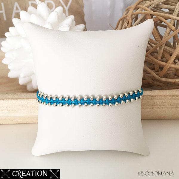 Bracelet création macramé bleu